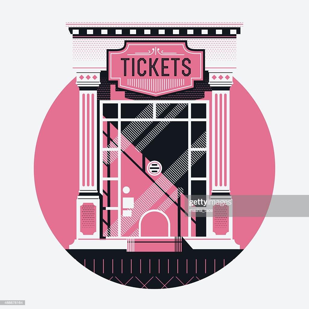 Movie ticket counter illustration
