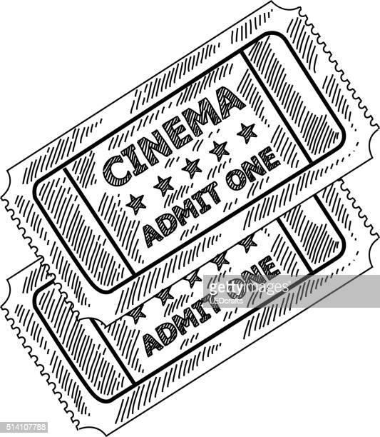 ilustraciones, imágenes clip art, dibujos animados e iconos de stock de entradas para ir al cine dibujo - entrada de cine