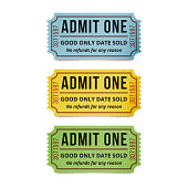 Movie tickets isolated on white background.