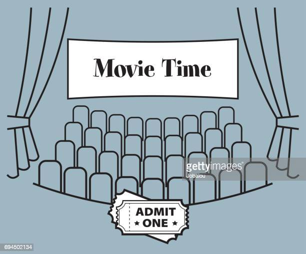 movie time theater - blank screen stock illustrations, clip art, cartoons, & icons