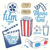 Movie time vector illustration with sketch popcorn bucket, clapperboard, glass