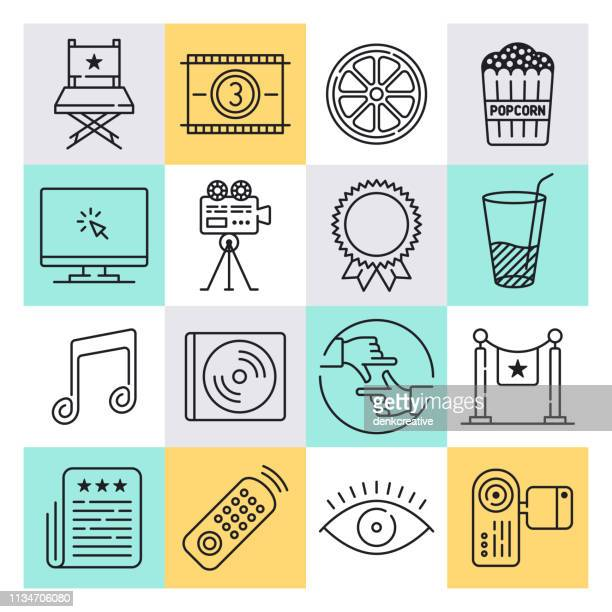 movie trailer advertising outline style vector icon set - fame stock illustrations