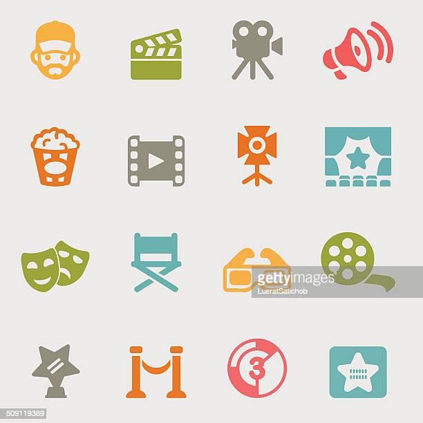 film auswahl farbe icons/eps10 - film oder fernsehvorführung stock-grafiken, -clipart, -cartoons und -symbole