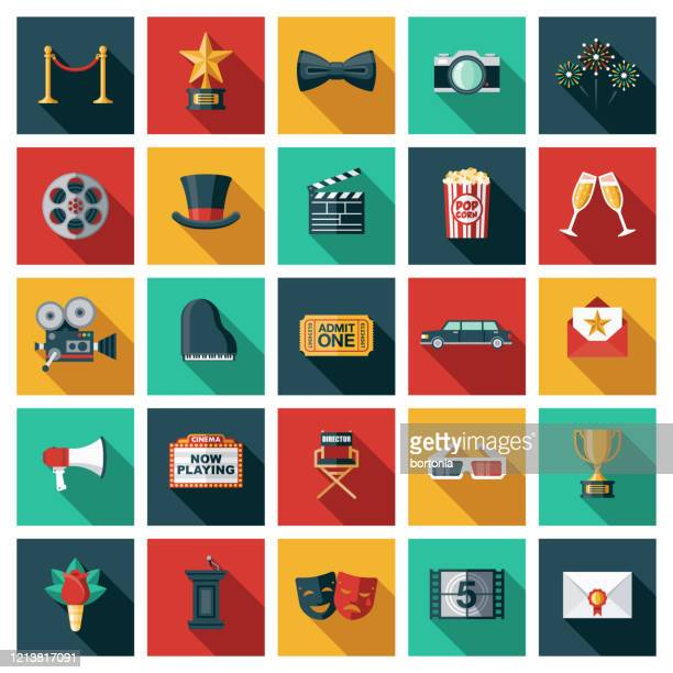 movies and filmmaking icon set - movie camera stock illustrations