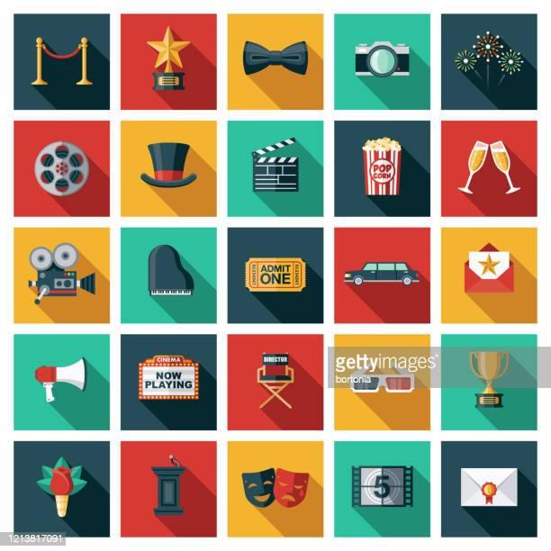 stockillustraties, clipart, cartoons en iconen met pictogramset films en films maken - camera