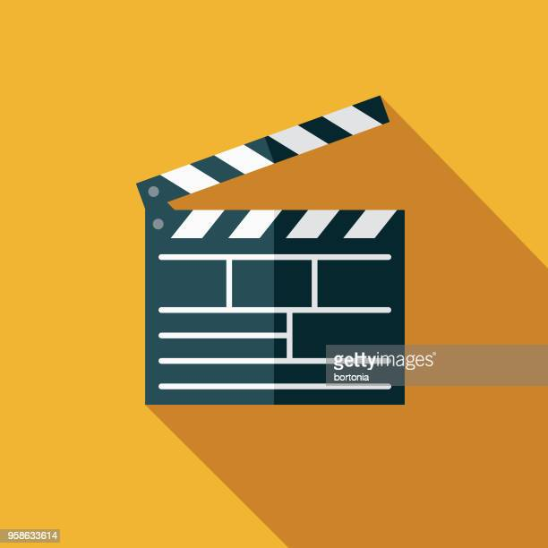 movies flat design arts icon with side shadow - film industry stock illustrations