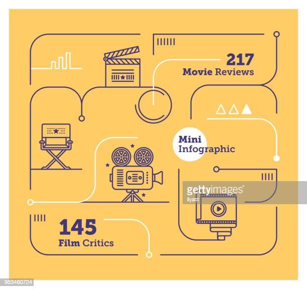 movies mini infographic - film director stock illustrations