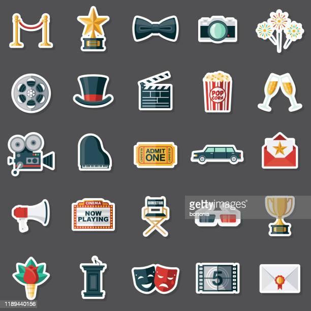 ilustraciones, imágenes clip art, dibujos animados e iconos de stock de movies sticker set - estreno
