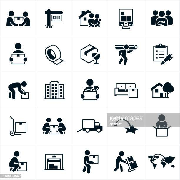 moving and relocation icons - picking up stock illustrations