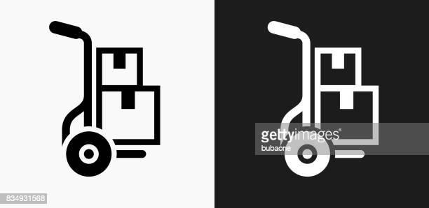 illustrations, cliparts, dessins animés et icônes de icône de boîtes mobiles sur noir et blanc vector backgrounds - déménagement