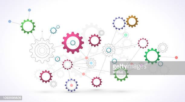 moving cogs - cog stock illustrations