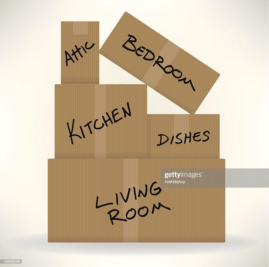Caixas de papelão-movendo dia : Ilustração