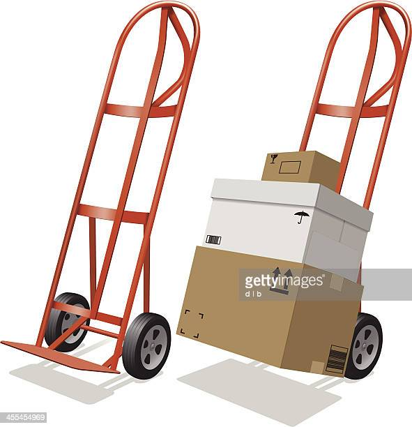 moving hand truck and shipping boxes - hand truck stock illustrations, clip art, cartoons, & icons