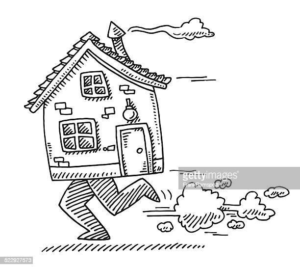 illustrations, cliparts, dessins animés et icônes de déplacer à la maison concept maison dessin de course à pied - déménagement
