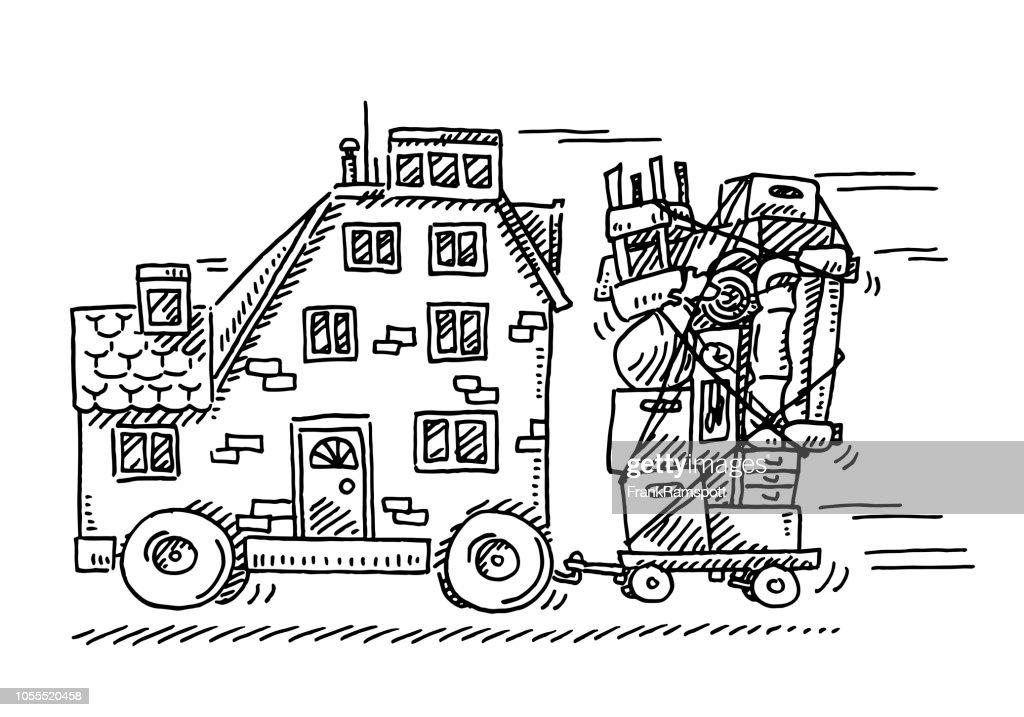 Haus-Konzept-Zeichnung verschieben : Vektorgrafik
