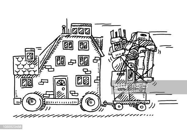 Haus-Konzept-Zeichnung verschieben