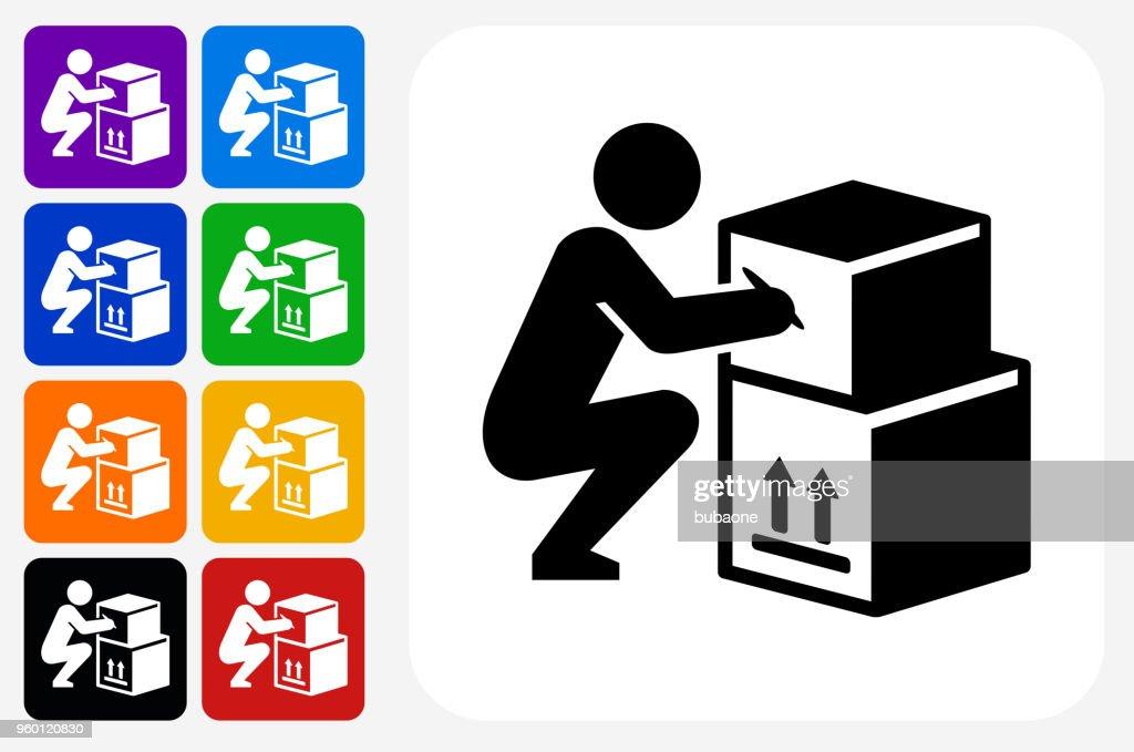 Bewegliche Symbol Square Buttonset : Stock-Illustration