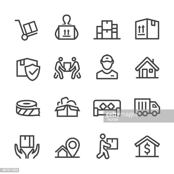 moving icons - line series - holding stock illustrations, clip art, cartoons, & icons