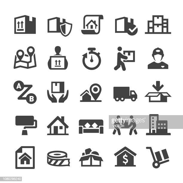 moving icons - smart series - relocation stock illustrations