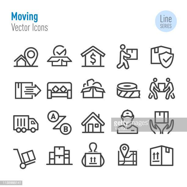 moving icons - vector line series - relocation stock illustrations