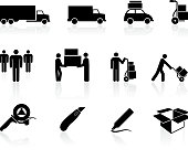 moving movers black and white royalty free vector icon set