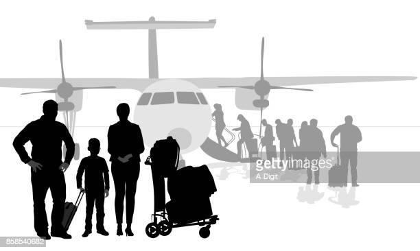 moving out of town airplane - airport terminal stock illustrations, clip art, cartoons, & icons