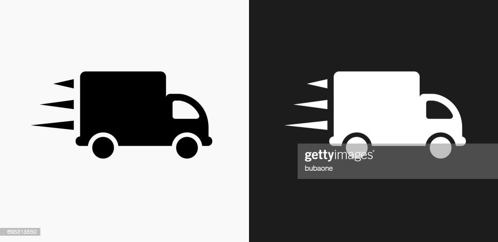 Moving Truck Icon On Black And White Vector Backgrounds