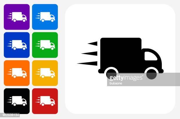 illustrations, cliparts, dessins animés et icônes de déplacement camion icône carrée bouton set - déménagement