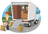 Moving truck Lorry full of possessions with happy worker