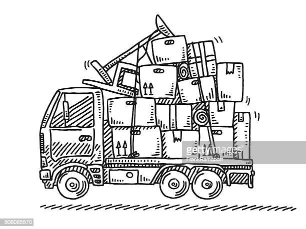 moving van stacked boxes drawing - new home stock illustrations, clip art, cartoons, & icons
