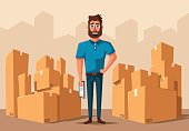 Moving with boxes. Transport company. Cartoon vector illustration