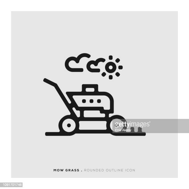 Mow Grass Rounded Line Icon