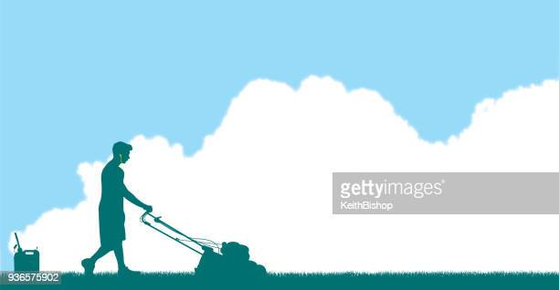 Mowing Grass Background with Blue Sky