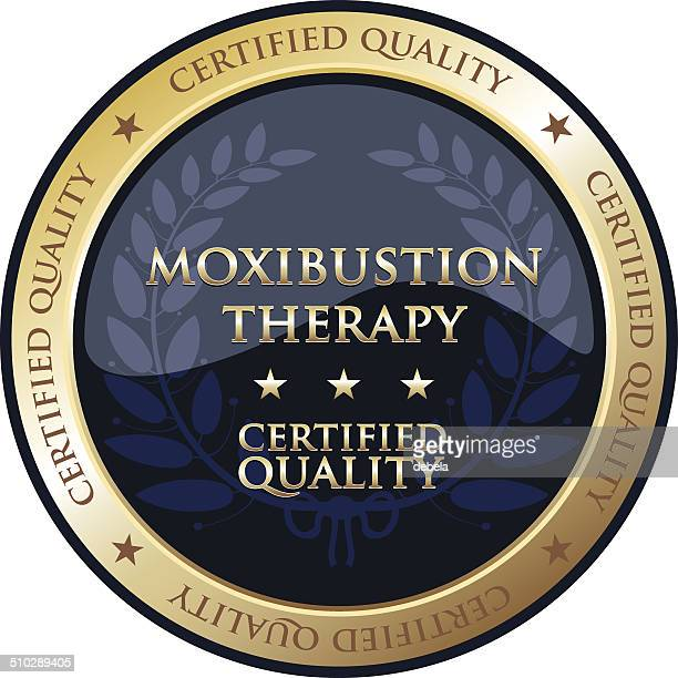 moxibustion therapy gold emblem - acupuncture stock illustrations, clip art, cartoons, & icons