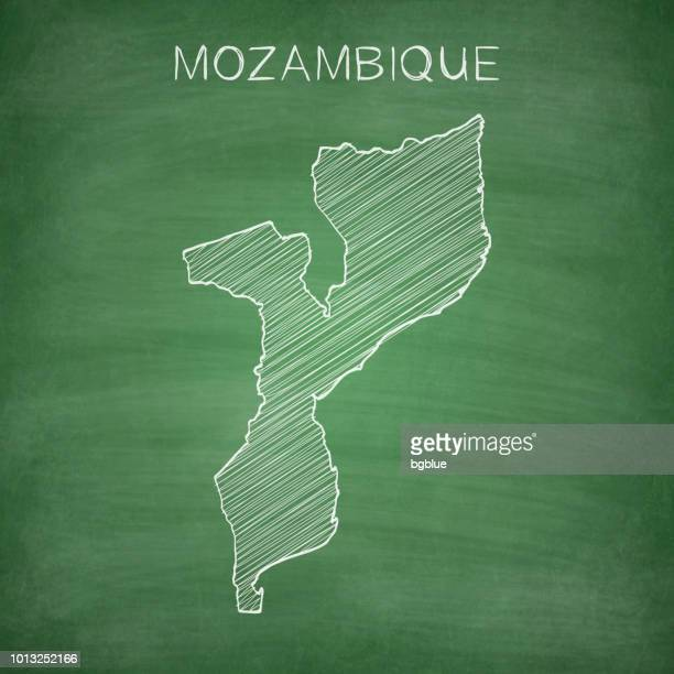 mozambique map drawn on chalkboard - blackboard - mozambique stock illustrations, clip art, cartoons, & icons