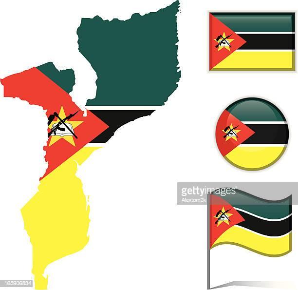 mozambique map & flag - mozambique stock illustrations, clip art, cartoons, & icons