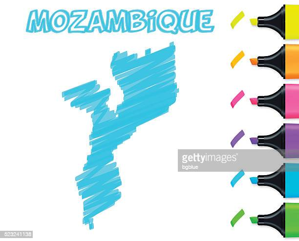 mozambique map hand drawn on white background, blue highlighter - mozambique stock illustrations, clip art, cartoons, & icons