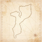 Mozambique map in retro vintage style - old textured paper