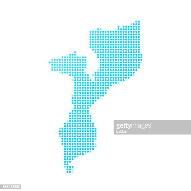 mozambique map of blue dots on white background - mozambique stock illustrations, clip art, cartoons, & icons