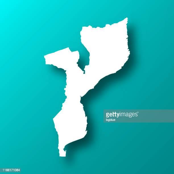 影を持つ青緑の背景上のモザンビーク地図 - モザンビーク点のイラスト素材/クリップアート素材/マンガ素材/アイコン素材