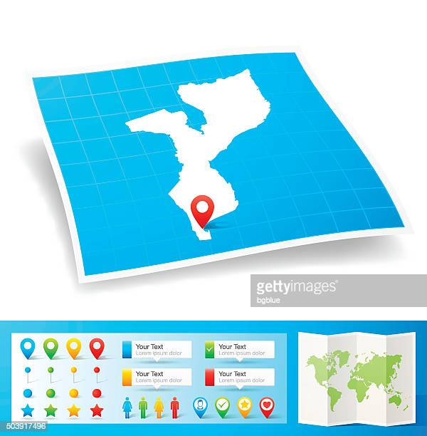 mozambique map with location pins isolated on white background - mozambique stock illustrations, clip art, cartoons, & icons