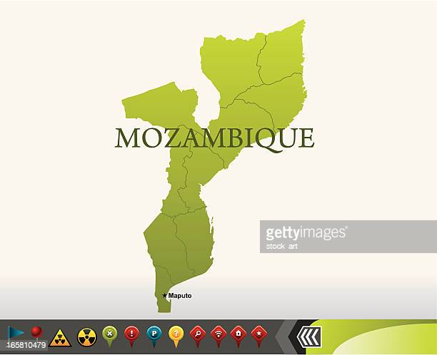 mozambique map with navigation icons - mozambique stock illustrations, clip art, cartoons, & icons
