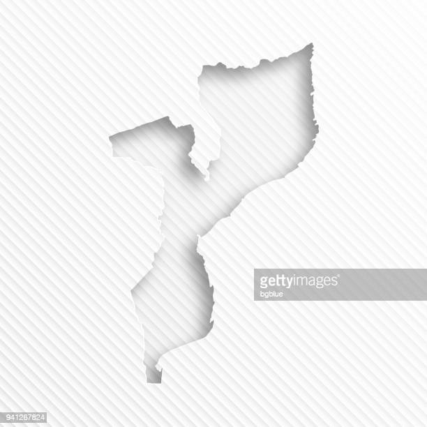 mozambique map with paper cut on abstract white background - mozambique stock illustrations, clip art, cartoons, & icons