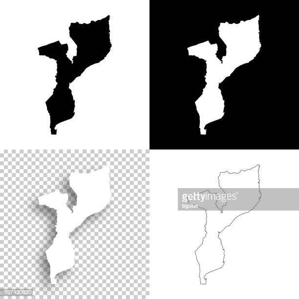 mozambique maps for design - blank, white and black backgrounds - mozambique stock illustrations, clip art, cartoons, & icons