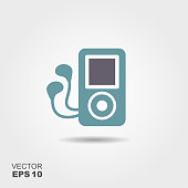 Mp3 player headphones Icon in flat style isolated on grey background