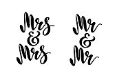 Mr and Mr. Mrs and Mrs. Gay wedding words. Brush pen lettering. Design for invitation, banner, poster.
