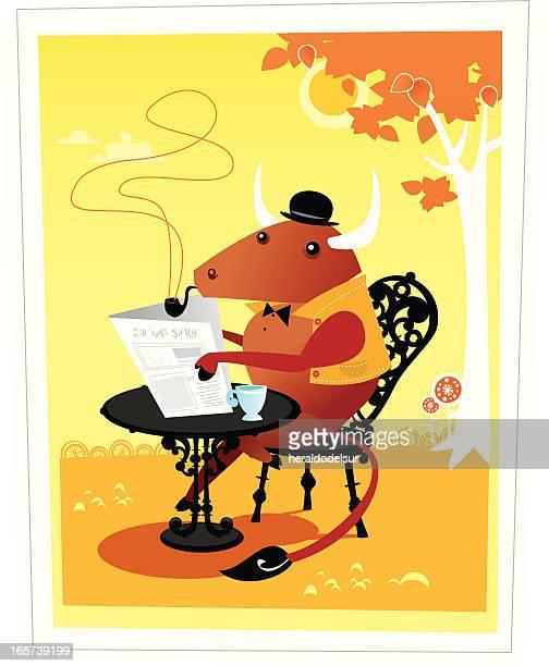 ilustrações de stock, clip art, desenhos animados e ícones de mr. bull - mesa cafe da manha