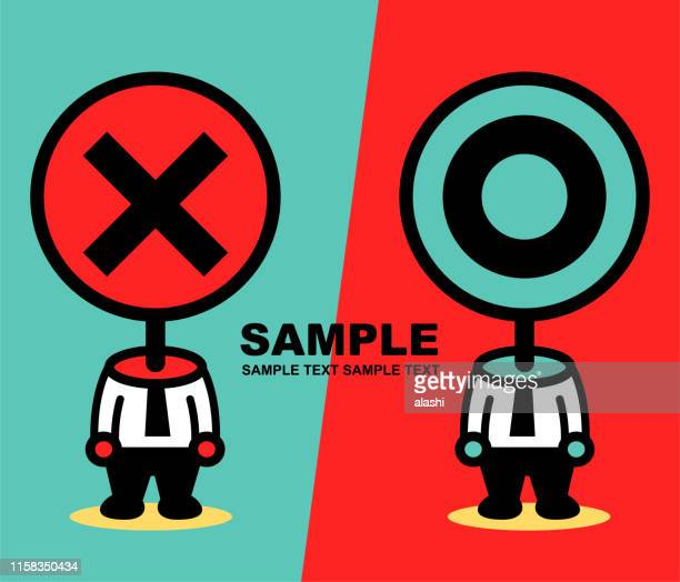 mr yes and mr no, two businessmen with unique head with cross shape sign (wrong mark) and circle sign (right mark) - refusing stock illustrations, clip art, cartoons, & icons