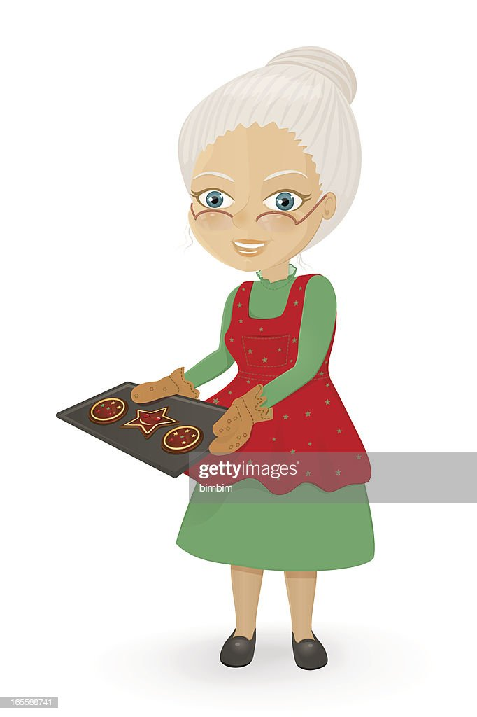 Mrs. Claus baking Christmas cookies