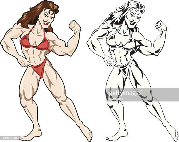 ms fitness pose 2 - body building stock illustrations, clip art, cartoons, & icons